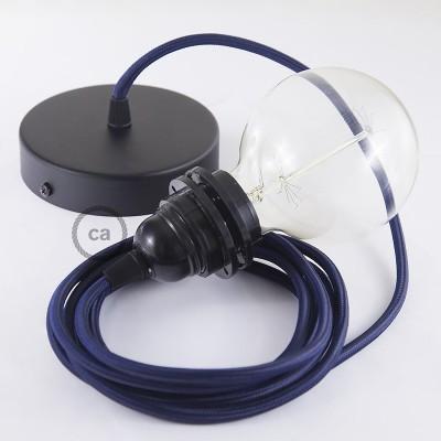 Pendelset för lampskärm med Mörkblå rund textilkabel RM20