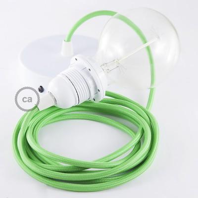 Pendelset för lampskärm med Grön Lime rund textilkabel RM18