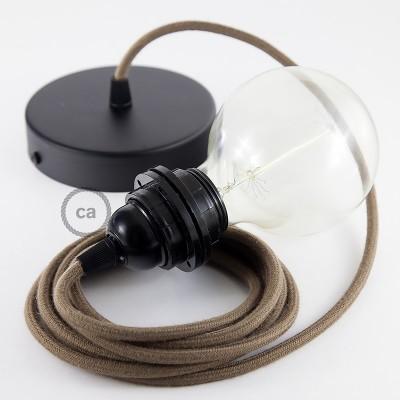 Pendelset för lampskärm med Brun rund textilkabel i bomull RC13
