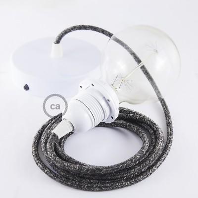 Pendelset för lampskärm med Antracit rund textilkabel i linne RN03