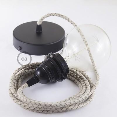 Pendelset för lampskärm med Lozenge Bark rund textilkabel i rustikt linne och bomull RD63