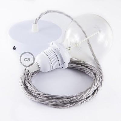 Pendelset för lampskärm med Silver tvinnad textilkabel TM02