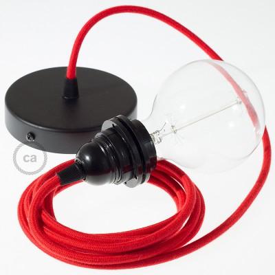 Pendelset för lampskärm med Eldröd rund textilkabel i bomull RC35