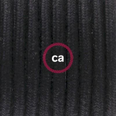 Pendelset Porslin med rund textilkabel i bomull RC04 Svart