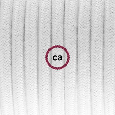 Pendelset Porslin med rund textilkabel i bomull RC01 Vit