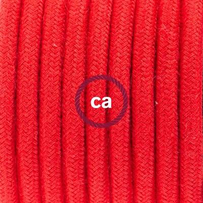 Pendelset Porslin med rund textilkabel i bomull RC35 Eldröd