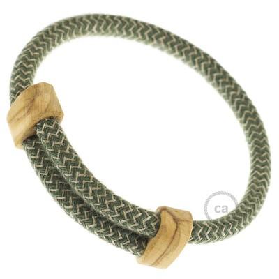Creative-Bracelet i rustikt linne och grön bomull RD72. Skjutbar fästanordning i trä. Tillverkad i Italien.