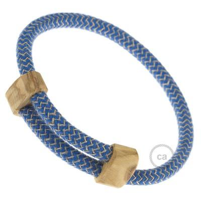 Creative-Bracelet i Havsblå ZigZag bomull och linne RD75. Skjutbar fästanordning i trä. Tillverkad i Italien.