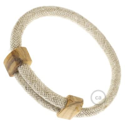 Creative-Bracelet i naturligt neutralt linne RN01. Skjutbar fästanordning i trä. Tillverkad i Italien.