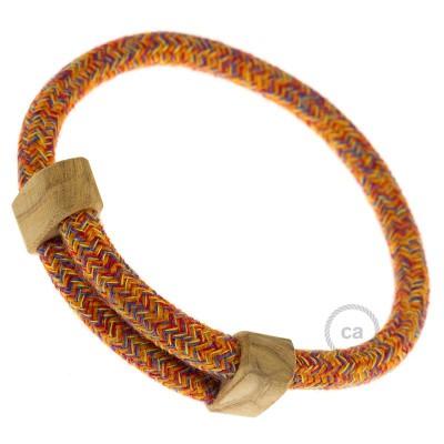 Creative-Bracelet i bomull, Indian Summer RX07. Skjutbar fästanordning i trä. Tillverkad i Italien.