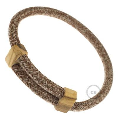 Creative-Bracelet i rödbrun tweed-bomull, linne och glitter-finish RS82. Skjutbar fästanordning i trä. Tillverkad i Italien.