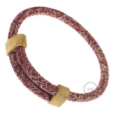 Creative-Bracelet i vinröd tweed-bomull, linne och glitter-finish RS83. Skjutbar fästanordning i trä. Tillverkad i Italien.