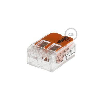 Anslutningsklämma för 2 anslutningar. Transparent/Orange.