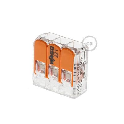 Anslutningsklämma för 3 anslutningar. Transparent/Orange.