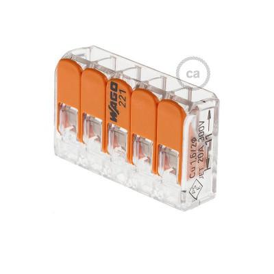 Anslutningsklämma för 5 anslutningar. Transparent/Orange.
