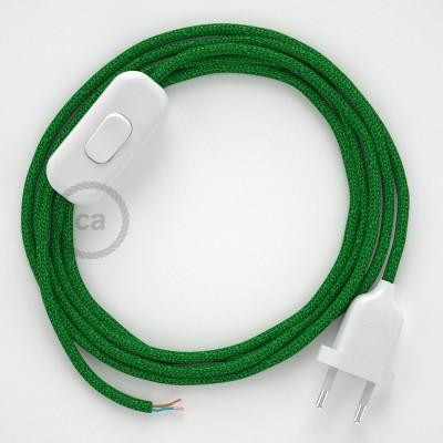Sladdställ, RL06 Grön Viskos 1,80 m. Välj färg på strömbrytare och kontakt