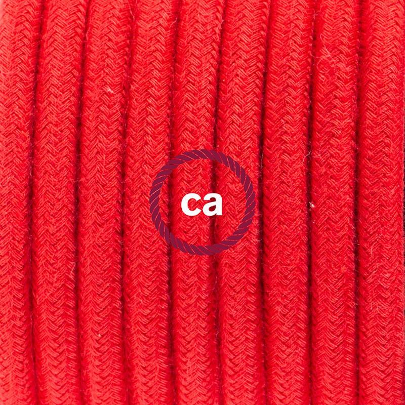 Sladdställ, RC35 Eldröd Bomull 1,80 m. Välj färg på strömbrytare och kontakt