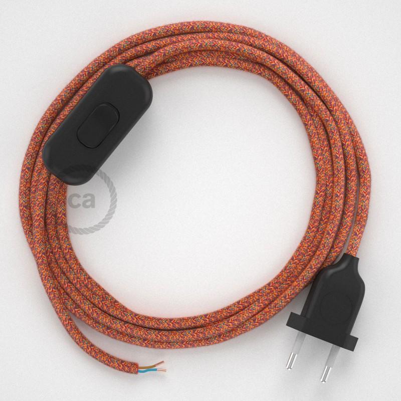 Sladdställ, RX07 Indian Summer Bomull 1,80 m. Välj färg på strömbrytare och kontakt