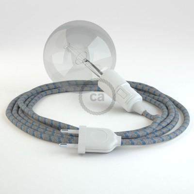 Skapa din egna Snake med textilkabeln RD55 Randig Marinblå och få ljuset dit du önskar.