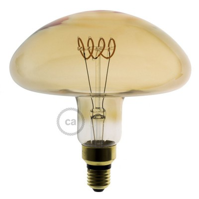 XXL LED Ljuskälla guld - Svampformad horisontal spiralglödtråd - 5W E27 Dimbar 2000K