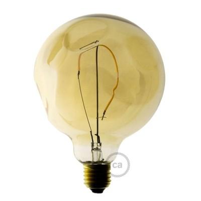 LED Ljuskälla Gold - Glob G125 med ett LED-filament och ojämnt glas - 2.5W E27 Decorative Vintage 2000K