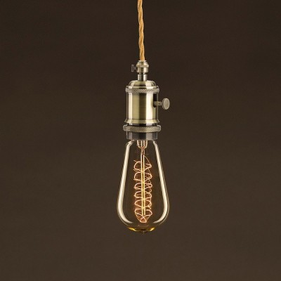 Vintage Edison ljuskälla Guld ST58 med kolfilament dubbelspiral 25W E27 dimbar 2000K