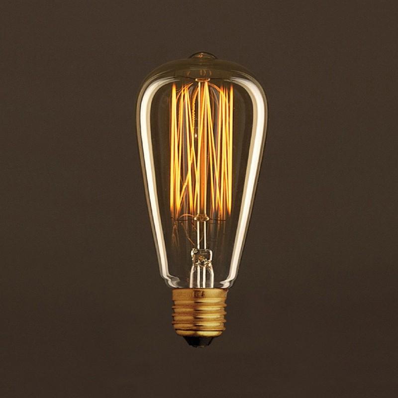Vintage Edison ljuskälla Guld ST64 med kolfilament cage 25W E27 dimbar 2000K
