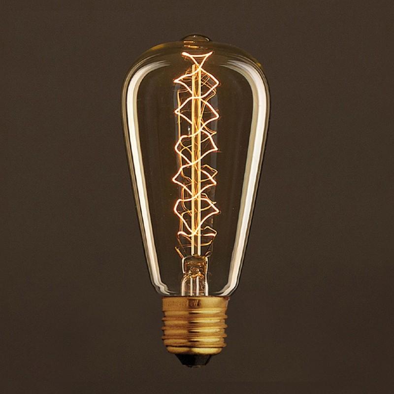 Vintage Edison ljuskälla Guld ST64 med kolfilament dubbelspiral 30W E27 dimbar 2000K