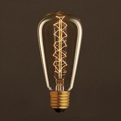 Vintage Edison ljuskälla Guld ST64 med kolfilament dubbelspiral 25W E27 dimbar 2000K