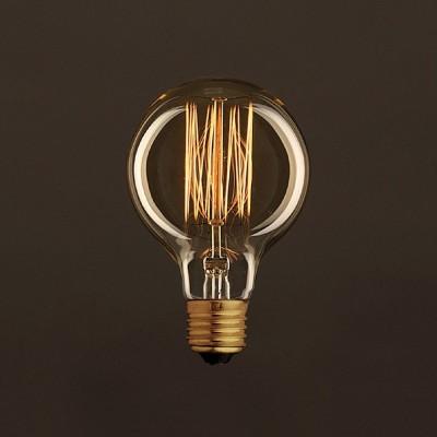 Vintage ljuskälla Globe Guld G80 med kolfilament cage 25W E27 dimbar 2000K