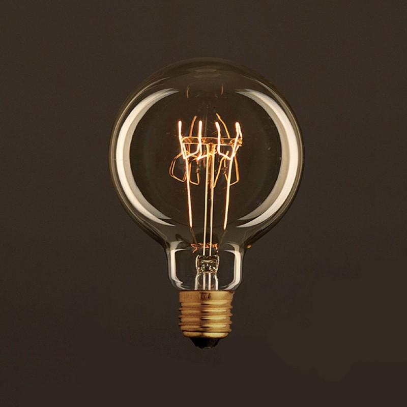 Vintage ljuskälla Drop Guld G95 med kolfilament spiral 25W E27 dimbar 2000K