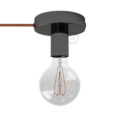 Spostaluce, svart pärlemofärgad metallkopp med textilkabel och sidohål.