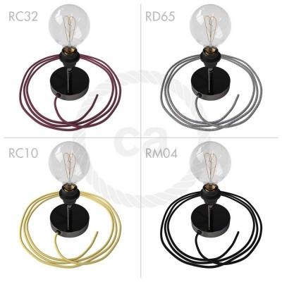 Spostaluce Metallo 90°, svart pärlemofärgad gängade justerbar E27 armatur med textilkabel och sidohål.