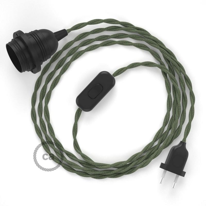 SnakeBis sladdställ med lamphållare - Grå/Grön Bomull TC63