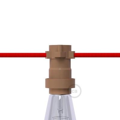 Brun E27-lamphållare i termoplast för String Lights