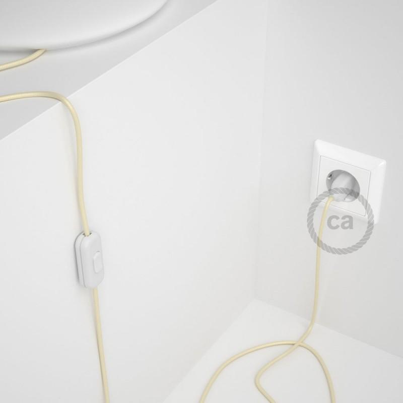 Sladdställ, RM00 Benvit Viskos 1,80 m. Välj färg på strömbrytare och kontakt