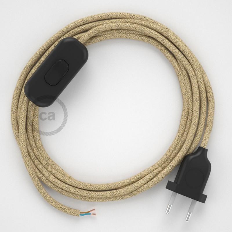 Sladdställ, RN06 Jute 1,80 m. Välj färg på strömbrytare och kontakt