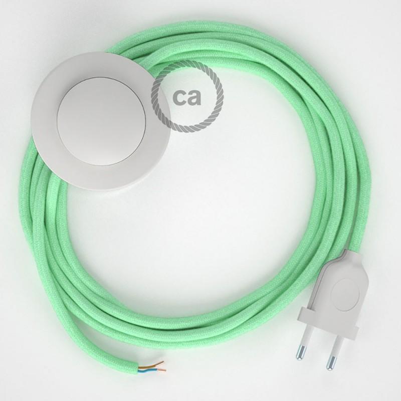 Sladdställ med fotströmbrytare, RC34 Mint Bomull 3 m. Välj färg på strömbrytare och kontakt