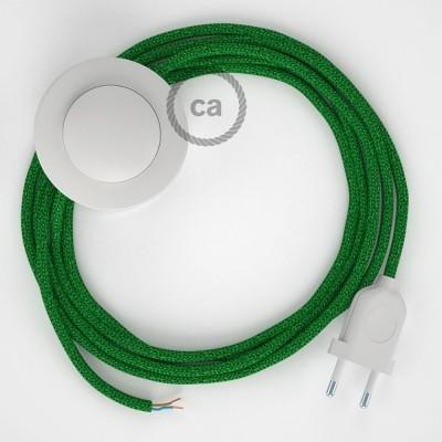 Sladdställ med fotströmbrytare, RL06 Grön Viskos 3 m. Välj färg på strömbrytare och kontakt