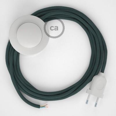 Sladdställ med fotströmbrytare, RC30 Stone Grey Bomull 3 m. Välj färg på strömbrytare och kontakt