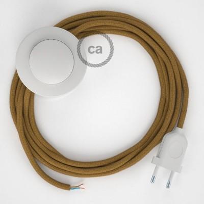 Sladdställ med fotströmbrytare, RC31 Golden Honey Bomull 3 m. Välj färg på strömbrytare och kontakt