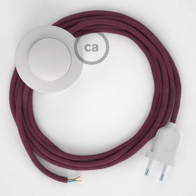Sladdställ med fotströmbrytare, RC32 Vinröd Bomull 3 m. Välj färg på strömbrytare och kontakt