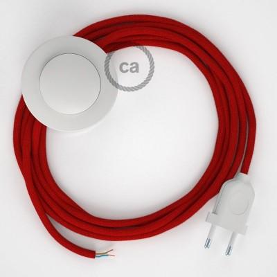 Sladdställ med fotströmbrytare, RC35 Eldröd Bomull 3 m. Välj färg på strömbrytare och kontakt