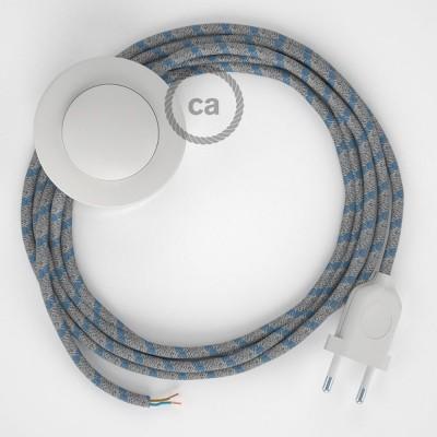 Sladdställ med fotströmbrytare, RD55 Havsblå Randig Bomull och naturligt linne 3 m. Välj färg på strömbrytare och kontakt