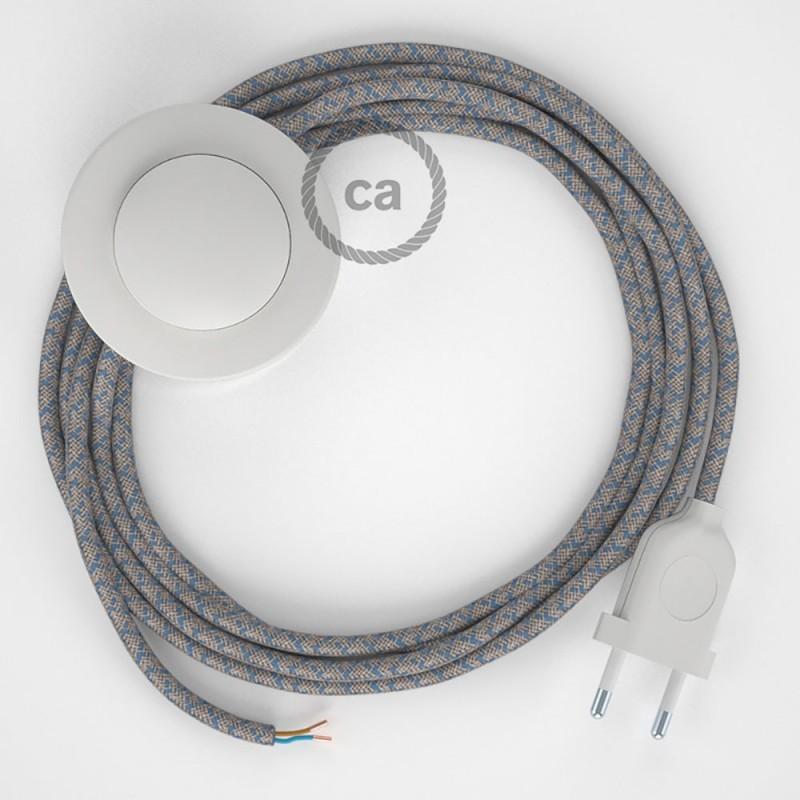 Sladdställ med fotströmbrytare, RD65 Havsblå Kryssmönstrad Bomull och naturligt linne 3 m. Välj färg på strömbrytare och kontakt