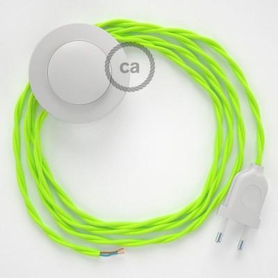 Sladdställ med fotströmbrytare, TF10 Gul Neon Viskos 3 m. Välj färg på strömbrytare och kontakt