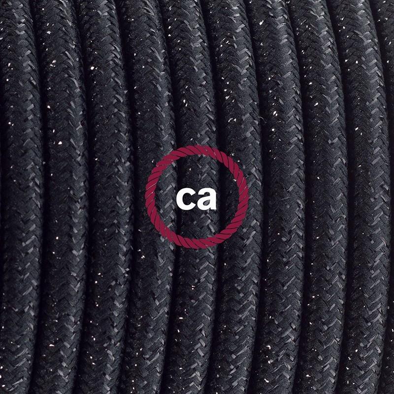 Sladdställ med fotströmbrytare, RL04 Svart glittrig Viskos 3 m. Välj färg på strömbrytare och kontakt