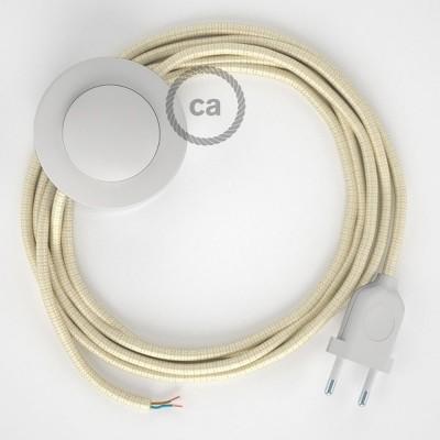 Sladdställ med fotströmbrytare, RM00 Benvit Viskos 3 m. Välj färg på strömbrytare och kontakt