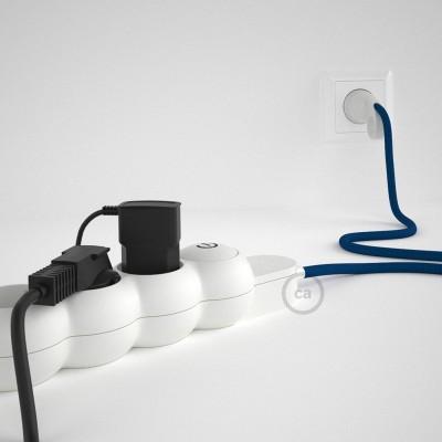 Grenuttag med textilkabel i Viskos RM12 Blå och Schuko-kontakt med komfortgrepp