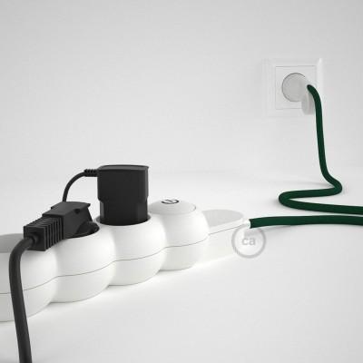 Grenuttag med textilkabel i Viskos RM21 Mörkgrön och Schuko-kontakt med komfortgrepp